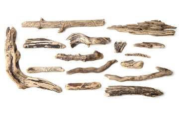 Set of driftwood isolated on white background. Pieces of river drift wood.  Wall mural