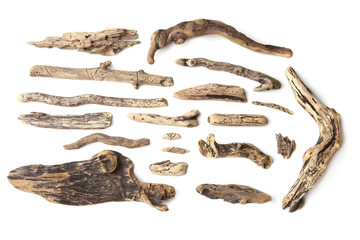Fototapeta Set of driftwood isolated on white background. Pieces of river drift wood.  obraz