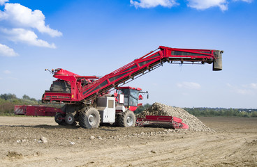 vehicle harvesting sugar beets