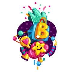 Initial letter B baby alphabet.