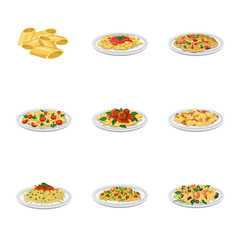 Vector illustration of pasta and carbohydrate icon. Set of pasta and macaroni stock symbol for web.