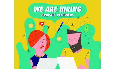 Hiring / Recruitment team with computer.  Recruiting Concept with icons in background. Business. Vector illustration of a man and woman. We're Hiring Graphic Designers
