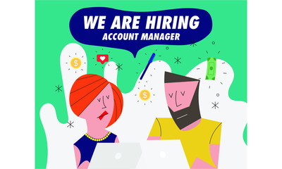 Hiring / Recruitment team with computer.  Recruiting Concept with icons in background. Business. Vector illustration of a man and woman. We're Hiring Account Manager