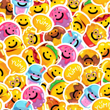 Seamless pattern emoji fast food smile. Backdrop happy vector sticker drink, donut, french fries, pizza, ice cream, pita, burger and speech bubble