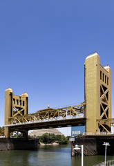 Sacramento Tower Bridge With Blue Sky And River