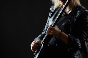 Blonde woman rocker guitarist black dark scene