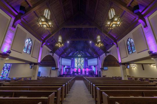 Interior of Menlo Park Presbyterian Church also called Menlo Church.