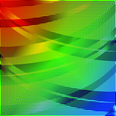 Abstract Iridescent Pattern with Colorful Tapes. Futuristic Geometric Striped Design.