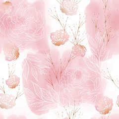 Beautiful watercolor pattern with rose flowers, peony and eucalyptus leaves.