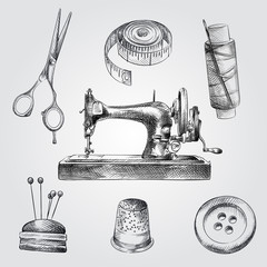 Hand Drawn Sewing Sketches Set. Collection Of sewing machine, pincushion for needles, scissors,  thimble, thread, meter tape, button Sketches on white background.
