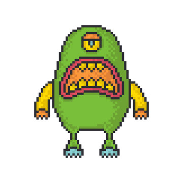 Angry monster pixel art style vector icon on white background.