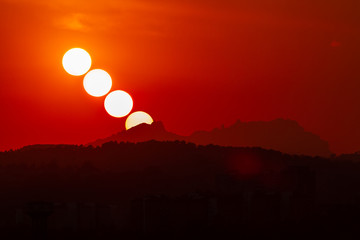 Sunset in Montserrat, Catalonia, Spain Fotomurales