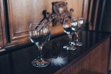 Set of glasses in a luxurious interior
