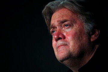 Former White House Chief Strategist Steve Bannon holds a news conference in Rome