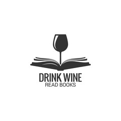 Wine glass with book concept. Drink wine read book on white background