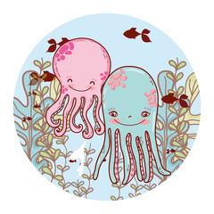 nice octopus couple with seaweed plants