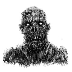 Scary zombie apocalyptic face. White background