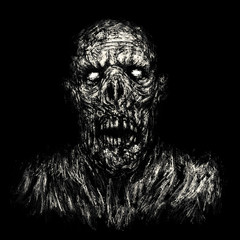 Scary zombie apocalyptic face. Black background