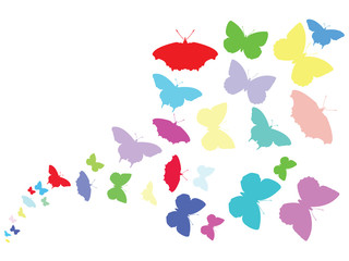 PrintColored Butterflies flying across screen illustration vector