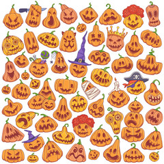 Jack-o'-lantern doodle set. Halloween carved pumpkins cartoon style vector illustration isolated on white background.