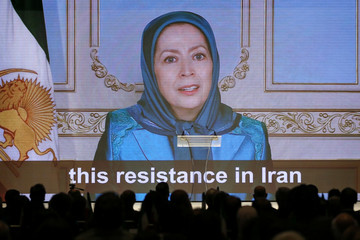Maryam Rajavi, president-elect of the National Council of Resistance of Iran (NCRI), delivers a video speech during the 2018 Iran Uprising Summit in New York