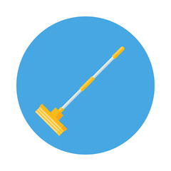 Mop flat icon isolated on blue background. Simple mop for cleaning the floor sign symbol in flat style. Cleaning and washing Vector illustration for web and mobile design.