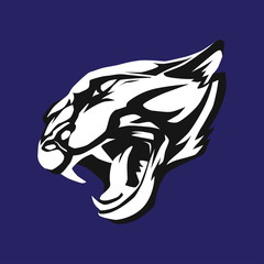 Black and white stylized face of aggressive panther. Vector wildcat head as logo or mascot