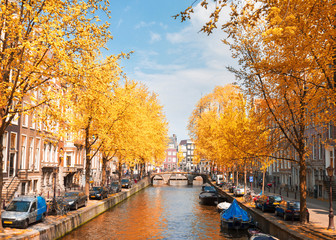 One of canals in Amsterdam old town with green trees at fall day, Holland Fototapete