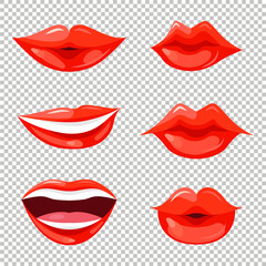 Set of women lips with trendy red lipstick colors. Shiny lip gloss. Vector illustration for web, makeup booklet and posters, fashion and beauty prints.