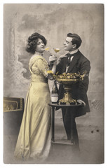 Young couple in love celebrated bottle champagne Vintage picture