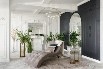 Morning in luxurious light interior in the Baroque style. Bright and clean interior design of a...
