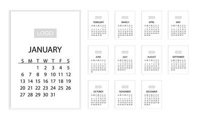 2019 CALENDAR. Horizontal VECTOR template. Eps 10. It can be used for WEB or Print.