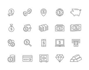 Set of bank and money line icons. Coin, cash, card, credit, atm, diamont, wallet, gold, deposit, purse, piggy, diamond, dollar, bag and more. Editable Stroke.