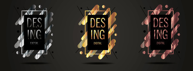Vector framework for your text modern graphics. dynamic frame stylish geometric black background with gold.