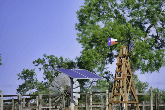 Solar Water well with Texas Windmill in front of summer green trees, farm ranch fence and blue sky background