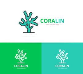coral logo. Unique reef and seafood logotype design template.