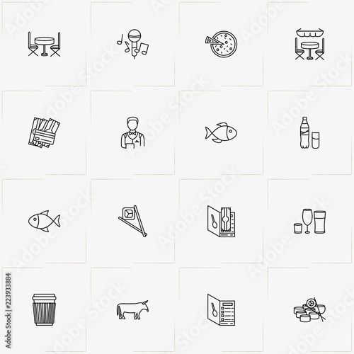 Restaurant Line Icon Set With Cow Menu And Cup Of Coffee Stock