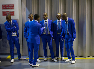 Performers wait backstage ahead of their performance during the annual Isicathamiya Competition held in Durban