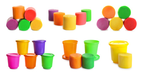 Set of colorful play dough on white background