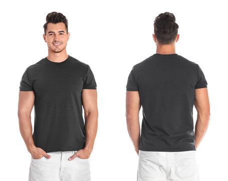 Young man in blank black t-shirt on white background, front and back views. Mock up for design