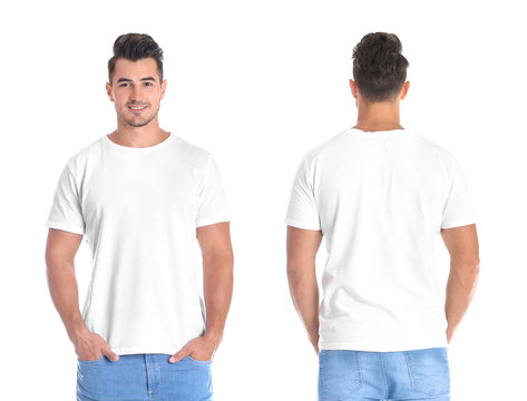 Young man in blank t-shirt on white background, front and back views. Mock up for design
