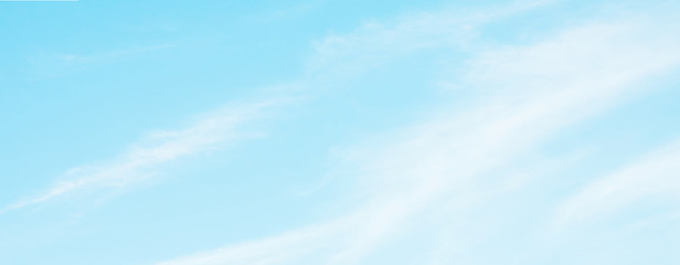 Panoramic Blue sky background with soft white clouds