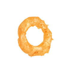 Delicious golden breaded and deep fried crispy onion ring on white background