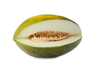 Sliced sweet fresh melon on white background