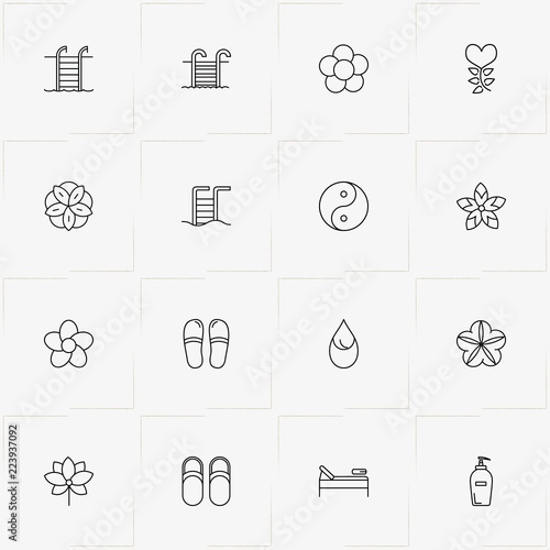 Sauna Spa Line Icon Set With Yin Yang Slippers And Swimming Pool