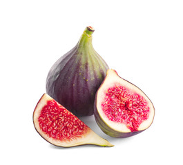 Whole and cut purple figs on white background