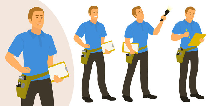 Home inspector man poses set for infographics or advertisement