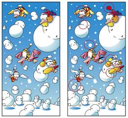 8つの相違点を間違い探しクイズ_雪だるま