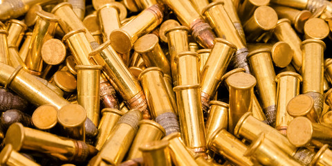 Shiny gold plated ammunition with silver head