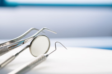 Dental tools use for dentist in the office or clinic.